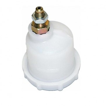 Fluid reservoir with offset outlet 7/16 UNF