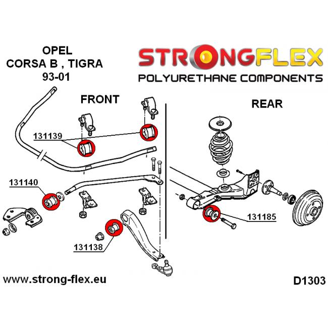 Schwinn Solution 650 Parts Catalog : Strongflex front tie bar to chassis bush mm b