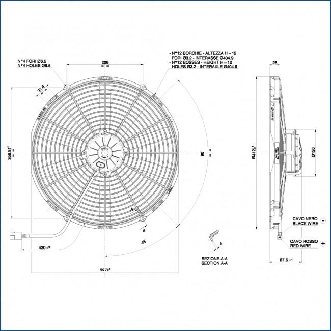 spal electric fan 414  385mm  suction