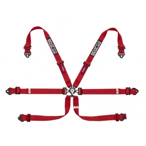 Sparco Racing harnesses, ENDURANCE 6 POINT FHR, Red