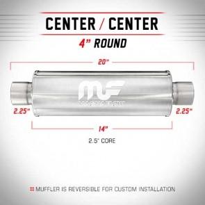 "MagnaFlow 4"" Universal Stainless Steel Muffler-50mm/2.25""-50mm/2.25""-355mm/14""-508mm/20""-Stainless Steel"