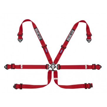 Racing harnesses, ENDURANCE 6 POINT FHR, Red