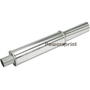 Powersprint 55mm/76mm Single Round Universal Muffler (With Decorative Tip)