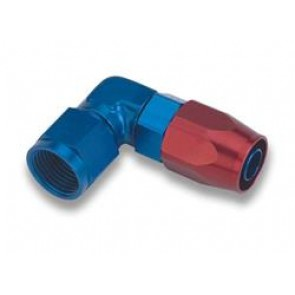 HEL Performance Hose Fitting Forged 90 Degree -8 AN JIC Aluminium Blue/Red
