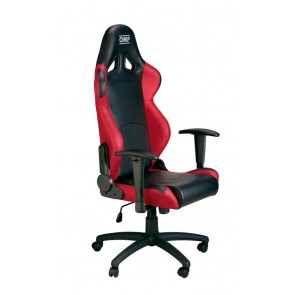 OMP Racing Seat Office Chair - Faux Leather-Black/Red