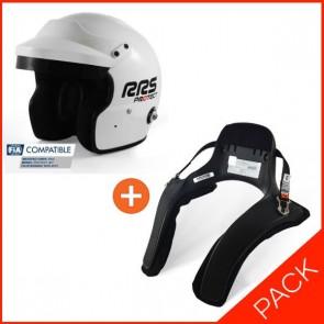 RRS FIA Open face helmet + HANS device