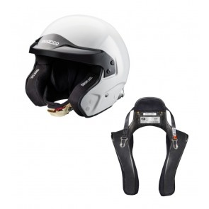 Sparco Open Face Helmet and HANS Device Set